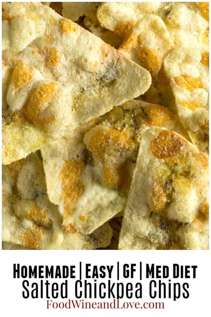 Easy Salted Chickpea Chips #Mediterraneandiet #gf #glutenfree #healthy #snack #recipe