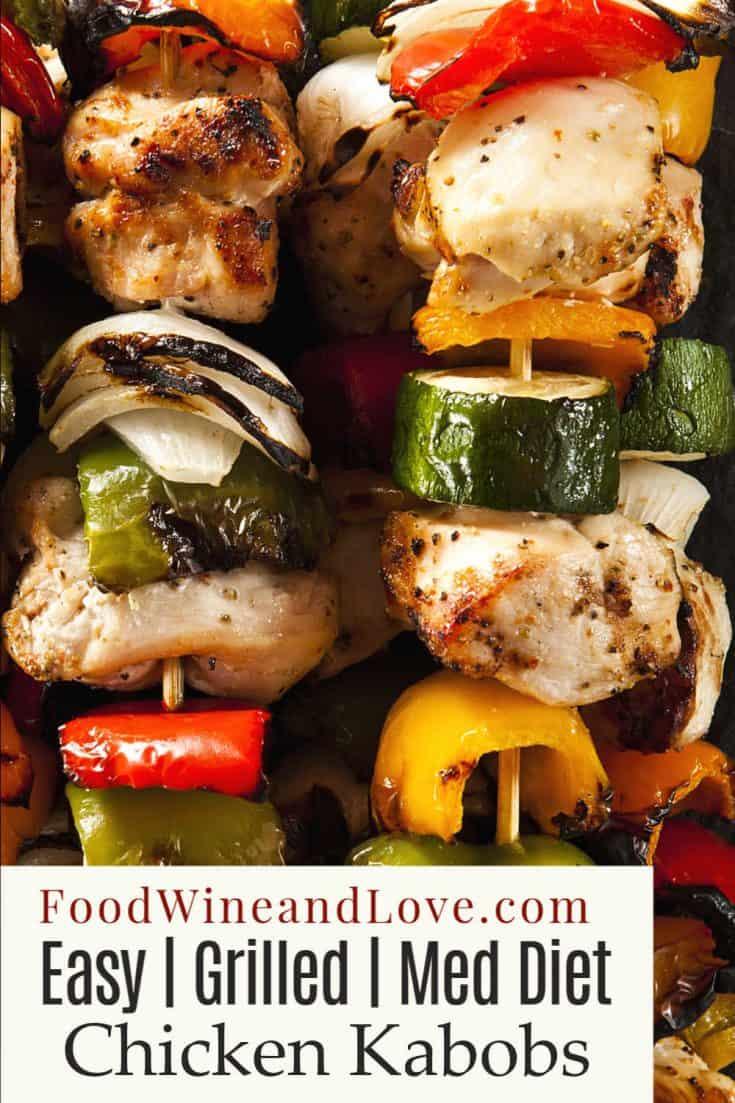 Easy Mediterranean Chicken Kabobs #meddiet #grilled #chicken #recipe #kabob
