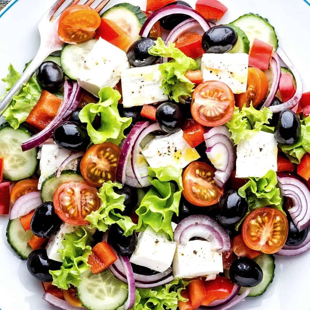 Easiest Greek Salad in Vinaigrette Dressing