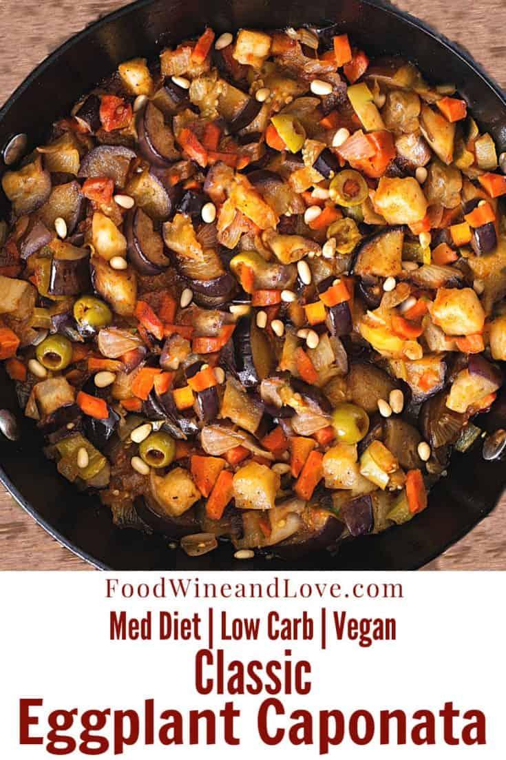 Classic Eggplant Caponata #meddiet #mediterranean #italian #italy  #homemade #vegan #lowcarb #recipe