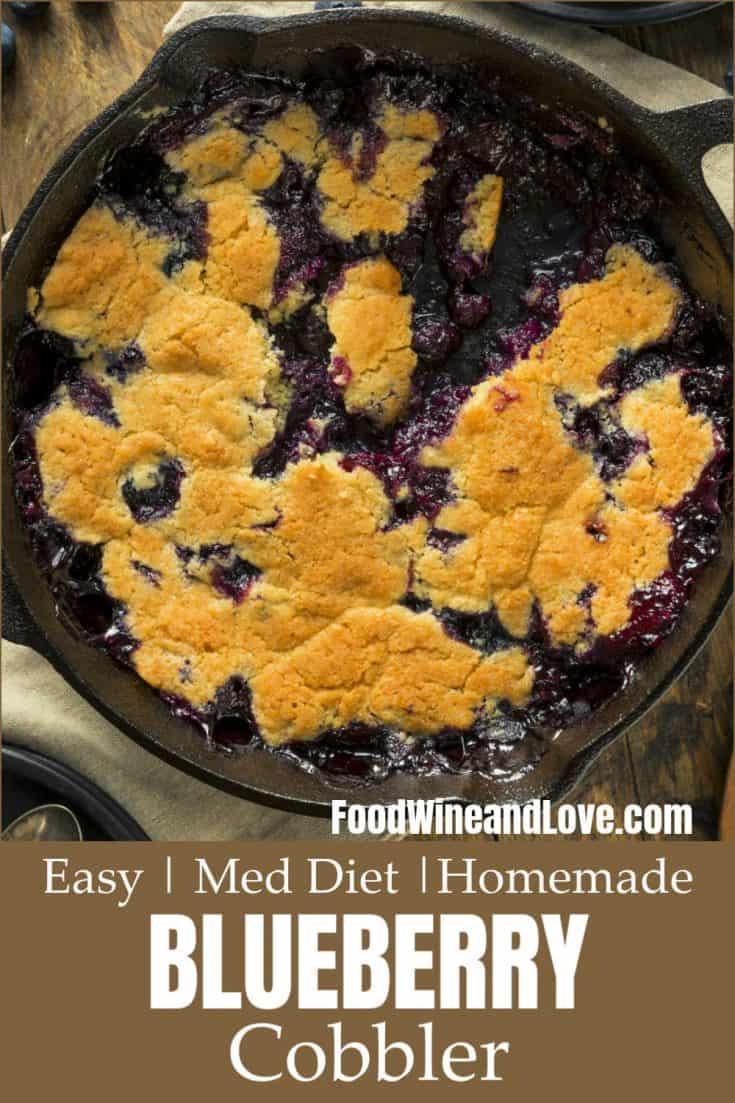 Easy Homemade Blueberry Cobbler #easy #homemade #healthy #meddiet #dessert #recipe #diy #yummy
