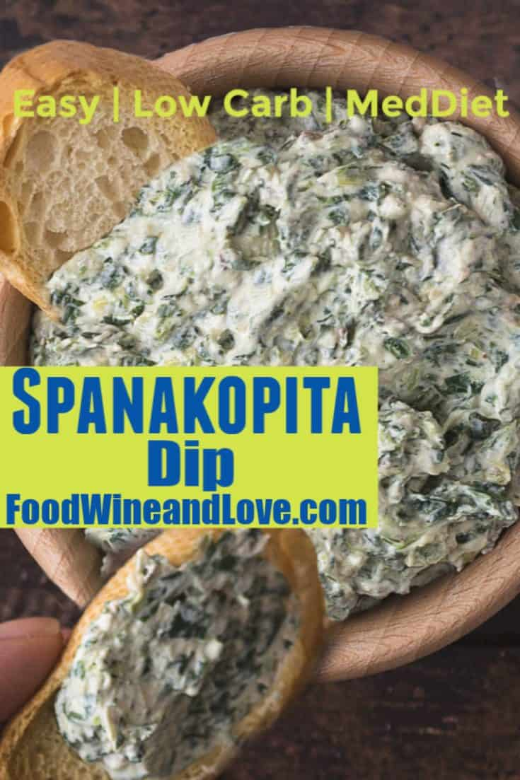 Easy Spanakopita Dip  #lowcarb #appetizer #dip #recipe #easy #yummy #meddiet