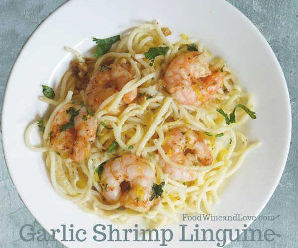 Garlic Shrimp Linguine Made with Wine