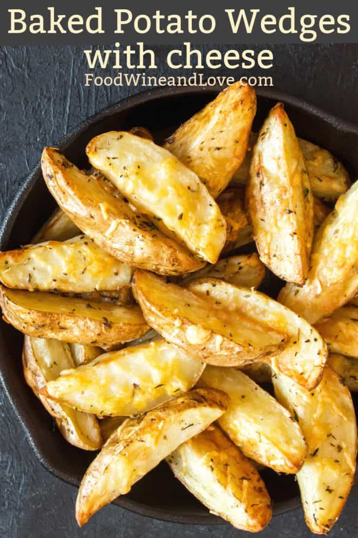 Cheesy Baked Potato Wedges #easy #appetizer #recipe #homemade #vegetarian #meddiet