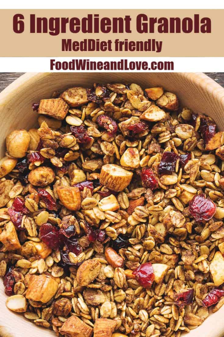 This easy recipe for 6 Ingredient Granola makes for a delicious and healthy snack or cereal choice!