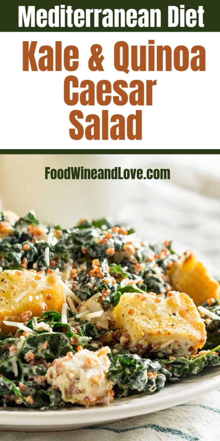 Kale and Quinoa Caesar Salad This delicious and healthy salad recipe can be made vegan, gluten free, and friendly to the Mediterranean diet as well