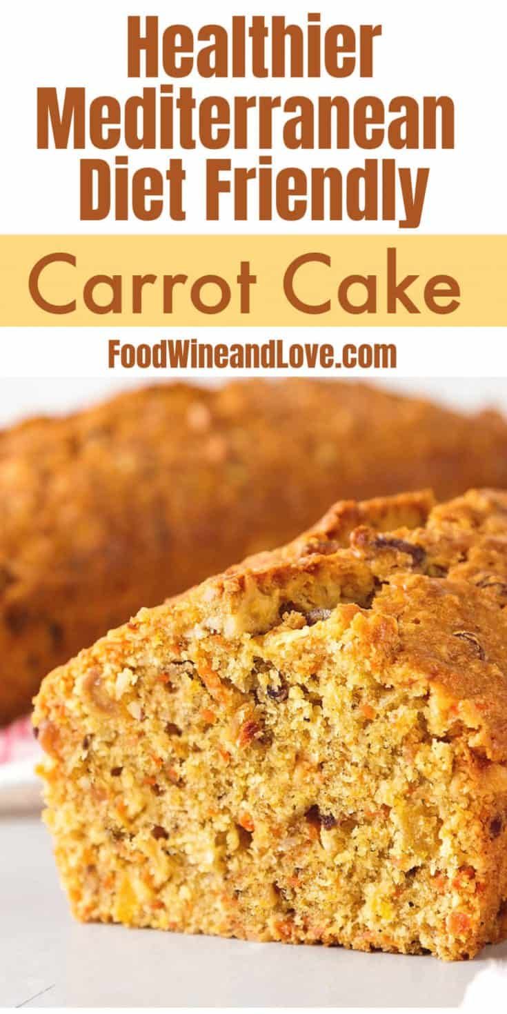 This delicious low fat Mediterranean Diet Friendly Carrot Cake is made with fresh carrots and whole wheat flour. Options for low and no sugar.