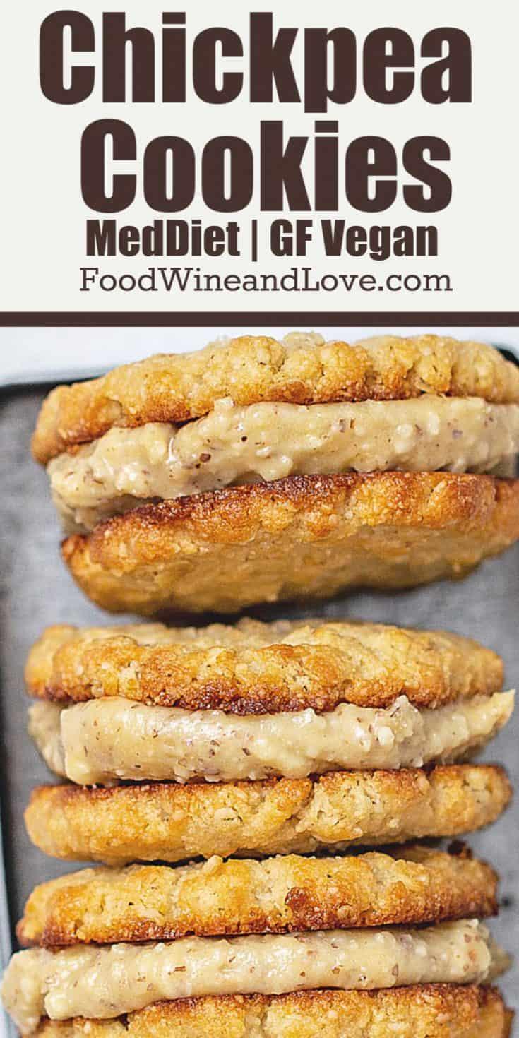 Vegan Gluten Free Chickpea Cookies, this cookie recipe is friendly to the Mediterranean Diet as well as the vegan, paleo, and gluten free diets.