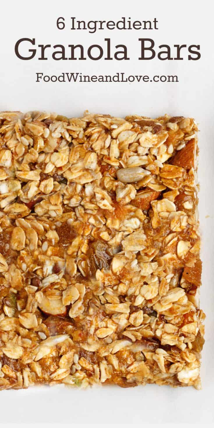 This recipe for 6 Ingredient Granola Bars is delicious and healthy. It is friendly to the Mediterranean Diet and also can be made gluten free and vegan.