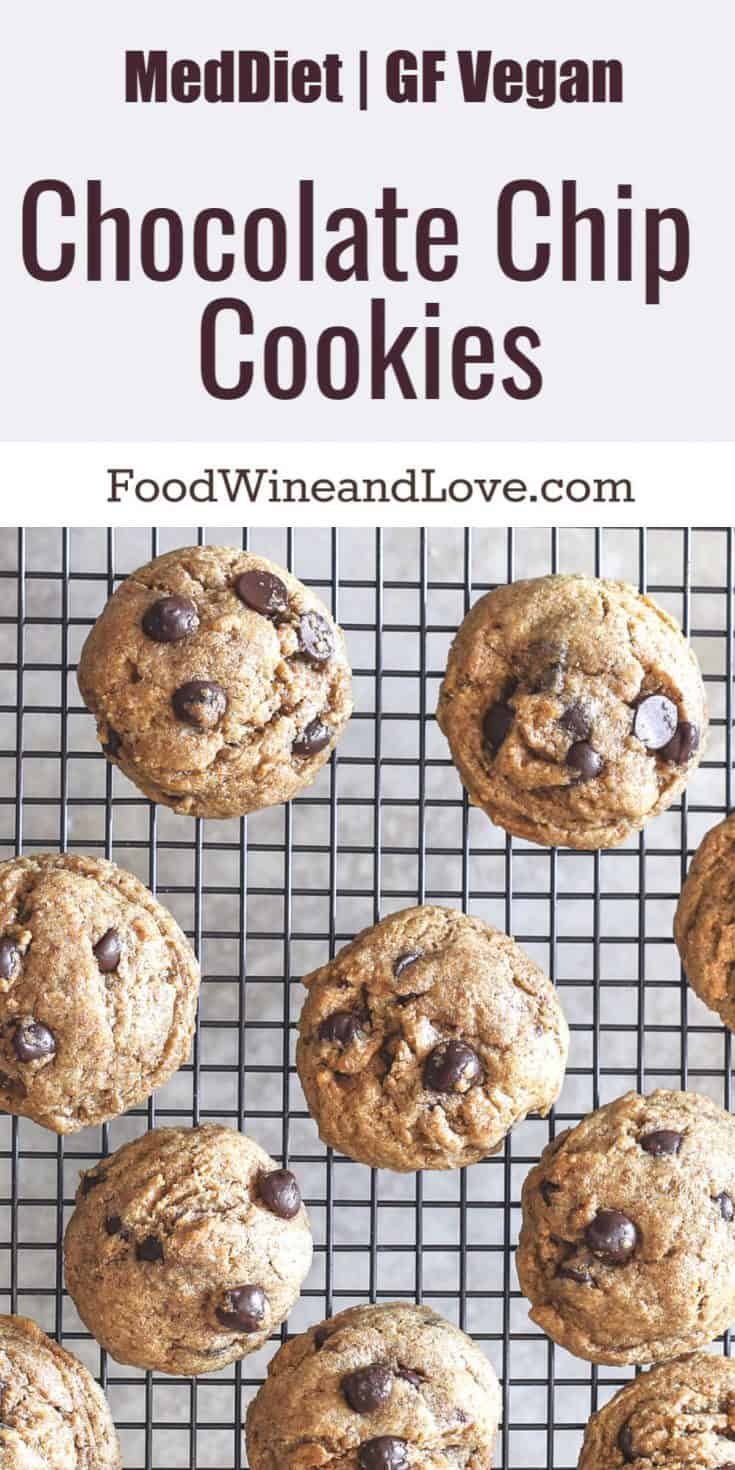 Vegan Chocolate Chip Cookies Mediterranean Diet Friendly, these cookies can be made paleo and sugar free. Delicious cookie recipe that is friendly to diets!