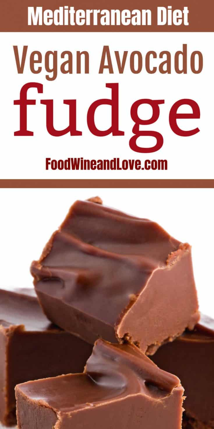 Chocolate Fudge Made With Avocado, this fudge is amazing! Mediterranean diet, lower carb, low fat, and easy to make!