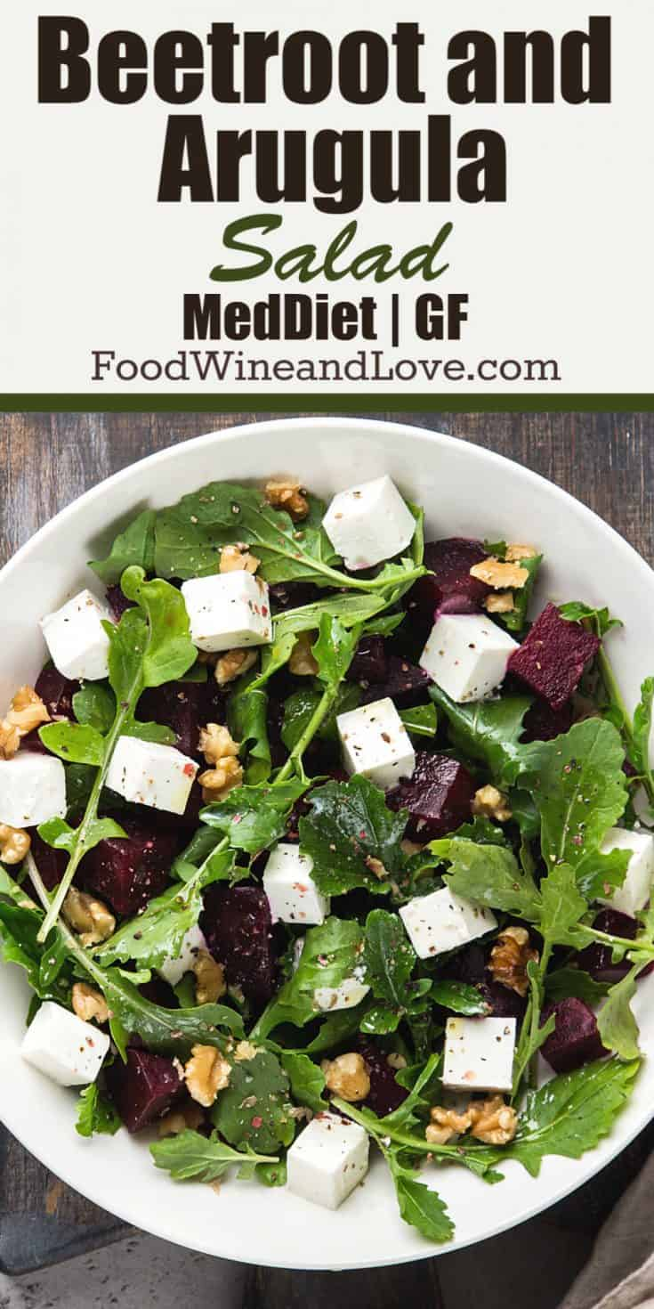 Delicious and easy to make recipe for Beetroot and Arugula Salad. Mediterranean diet, healthy, gluten free