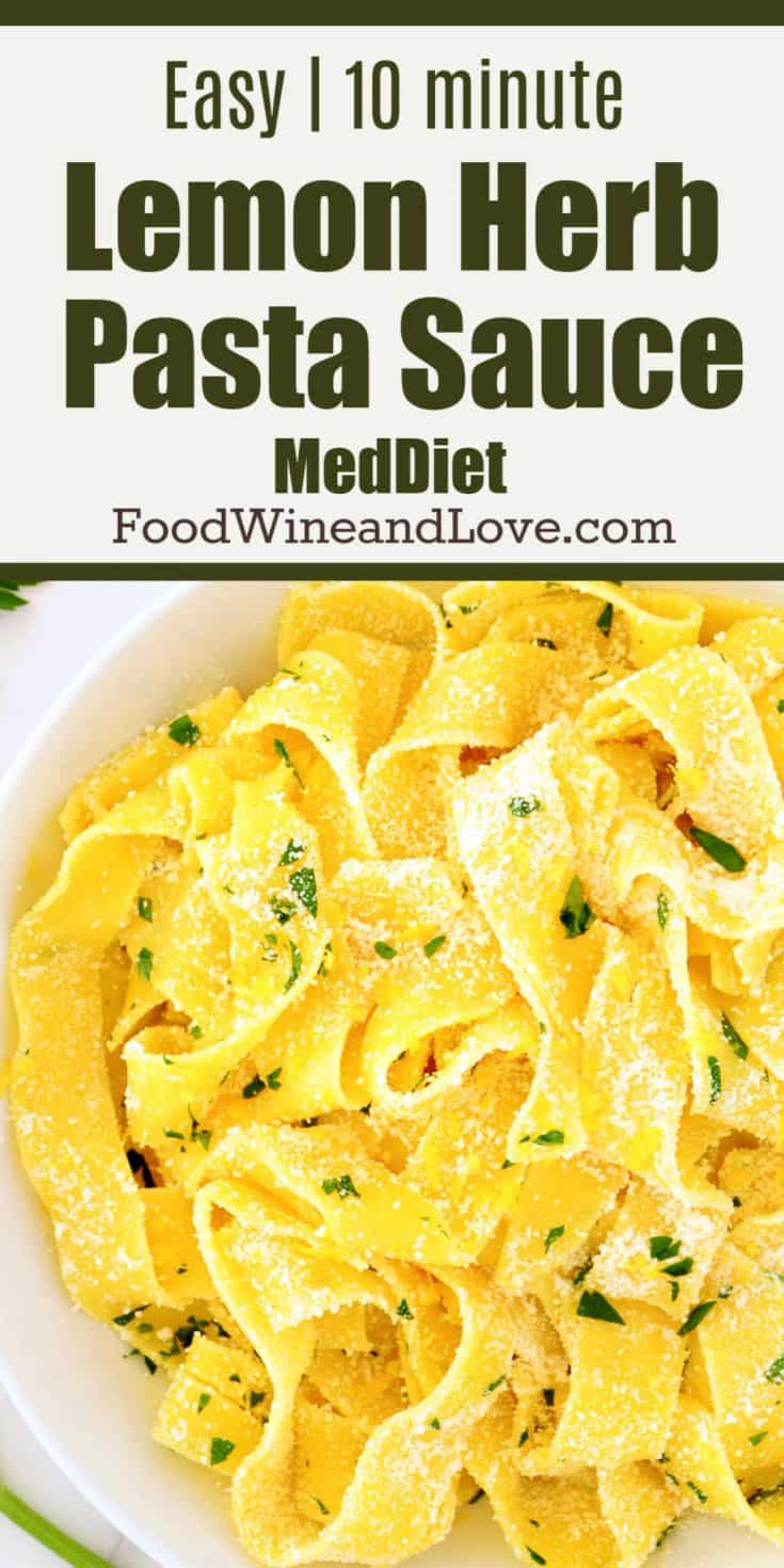 Easy Pasta in Lemon Sauce - This easy recipe is friendly to the mediterranean diet and is so delicous!