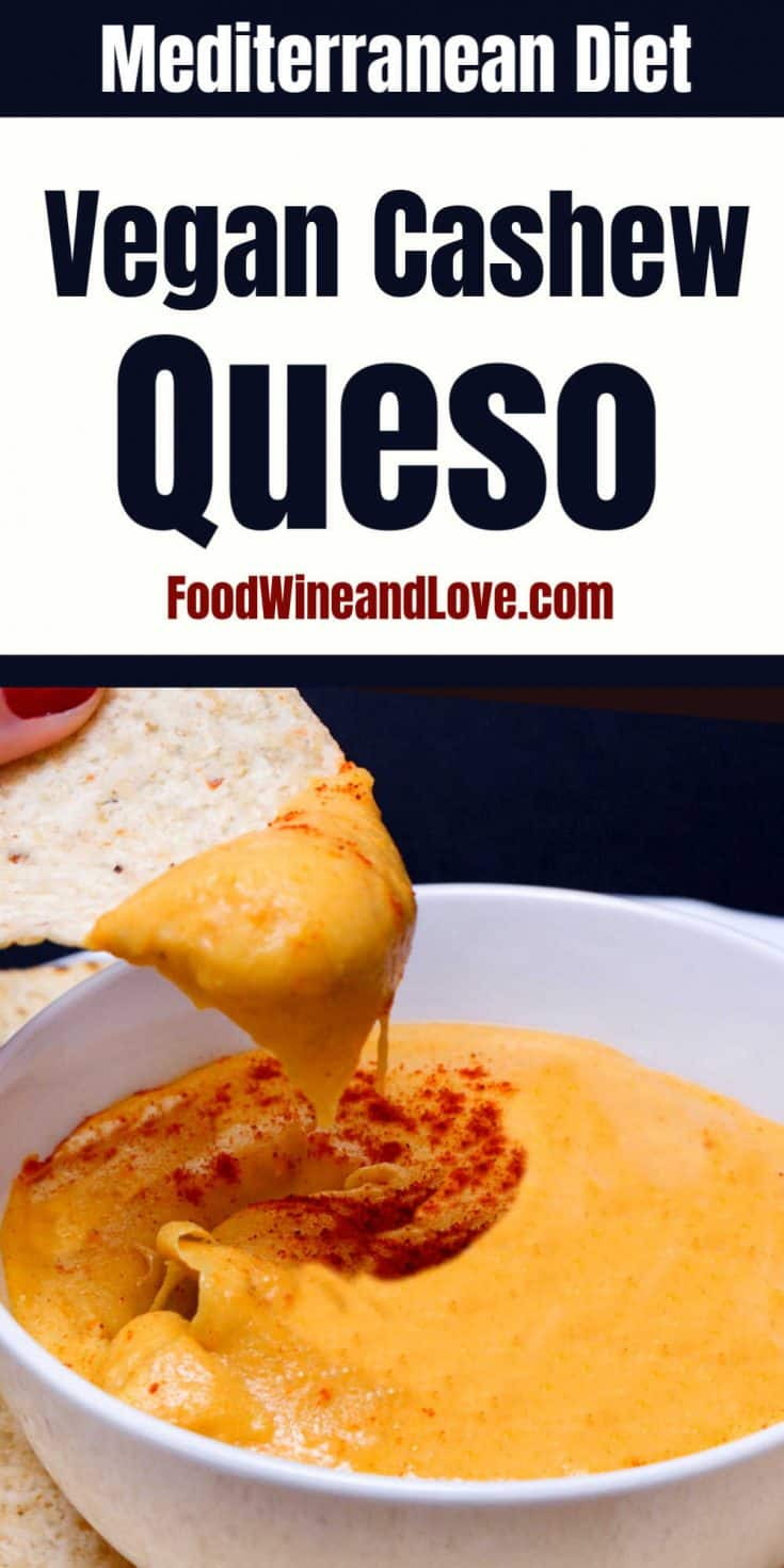 This delicious appetizer recipe for Amazing Vegan Cashew Queso Dip is easy to make and is friendly to many diets such as the Mediterranean  Diet!