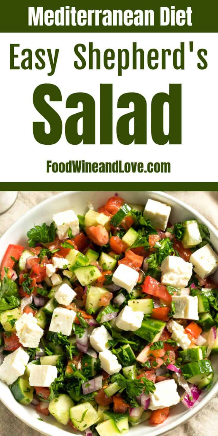 Simple and Delicious Shepherd's Salad , so easy to make! This is a great vegetarian, low fat, gluten free, and Mediterranean and diet friendly salad recipe!