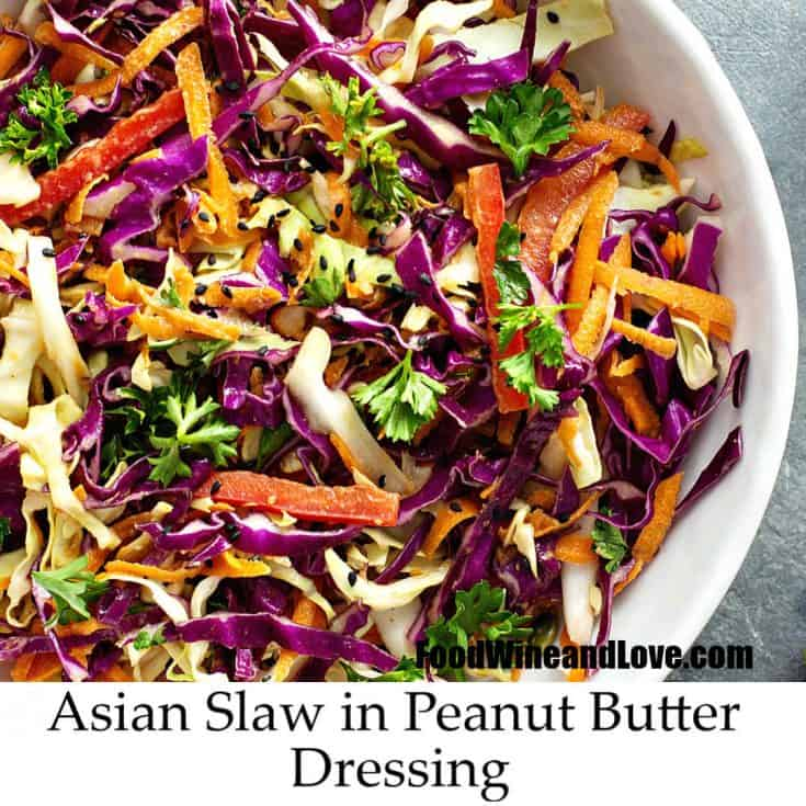 Asian Coleslaw in Peanut Butter Sauce