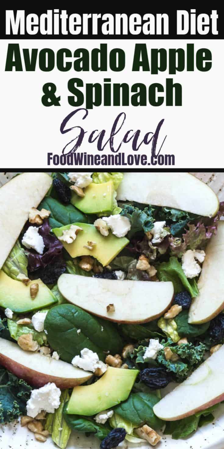 Avocado Apple and Spinach Salad, the perfect vegetarian salad with fruits and vegetables that is friendly to the Mediterranean diet