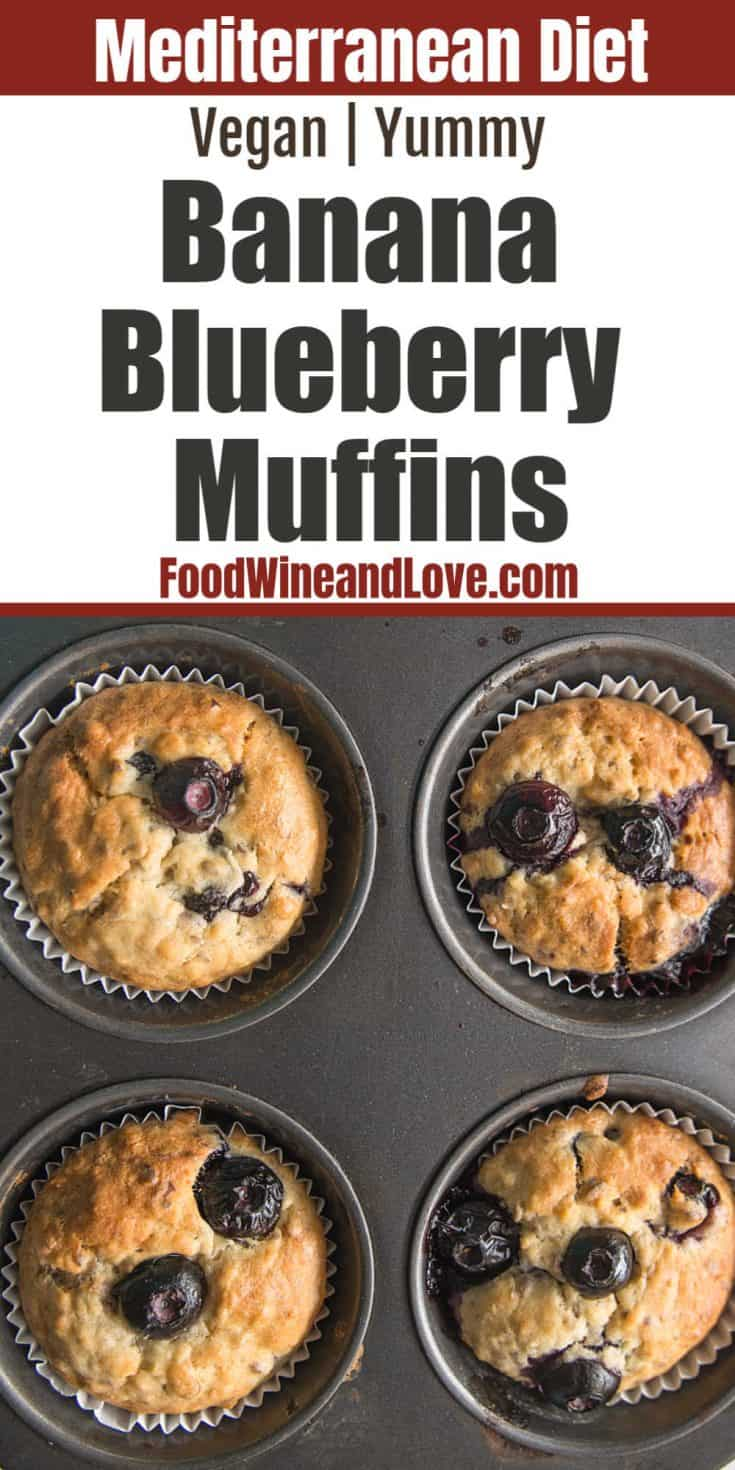 healthy homemade banana blueberry muffin recipe that is friendly to the Mediterranean diet and with vegan options