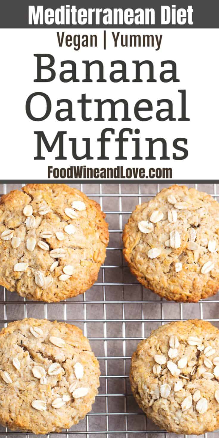 Vegan Banana Oatmeal Muffins, easy to make recipe and delicious too! Flourless, Mediterranean diet friendly breakfast idea.