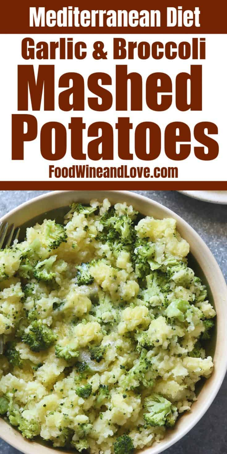 Broccoli Garlic Mashed Potatoes, an easy recipe for a favorite vegetable side dish that is healthy and especially popular during any holiday meal. Vegan option.
