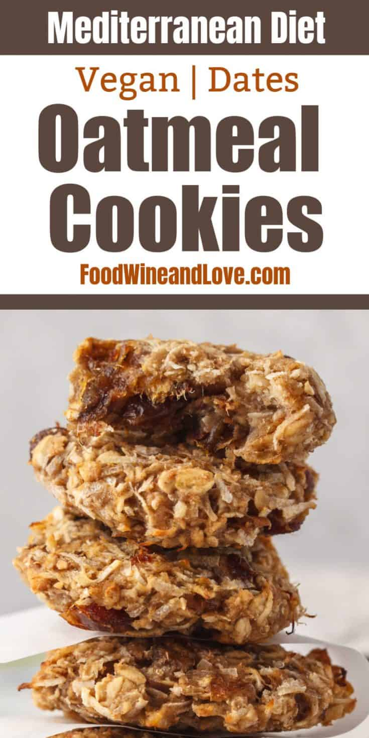 Vegan Oatmeal Date Cookies, this healthy cookie recipe is made without adding any extra sugar, is gluten free, and is friendly to the Mediterranean diet