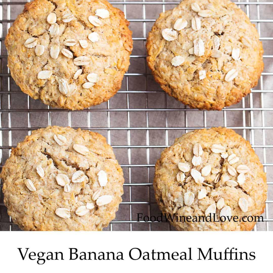 Vegan Banana Oatmeal Muffins