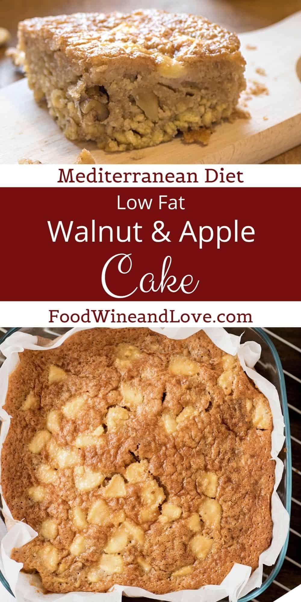 Mediterranean Diet Apple and Walnut Cake