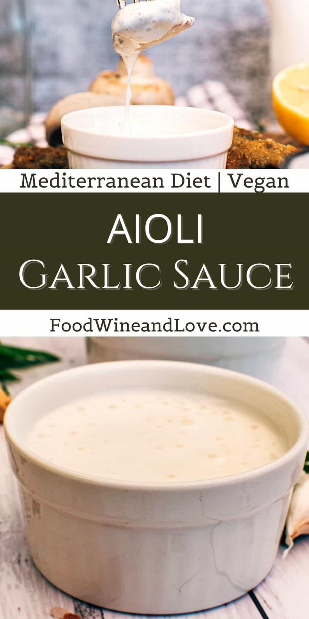 Vegan Mediterranean Diet Aioli Garlic Sauce