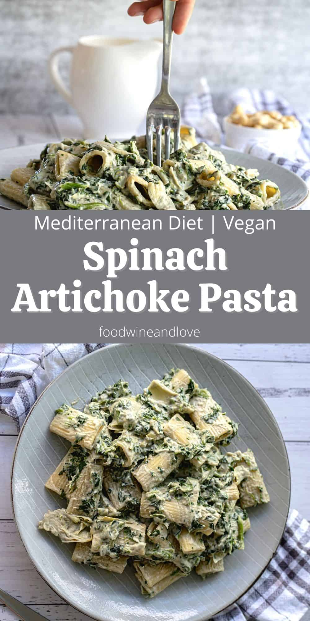 Creamy Vegan Pasta with Spinach and Artichokes, foodwineandlove.com