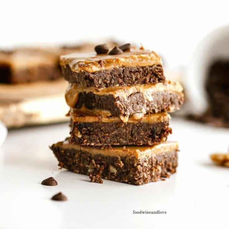 No Bake Vegan Brownies With Caramel Topping